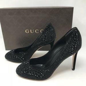 Gucci Swarovski Crystals Black Pump Size 34 NWT